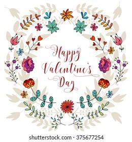 Valentines Day vintage background. Hand drawn illustration. Vector.