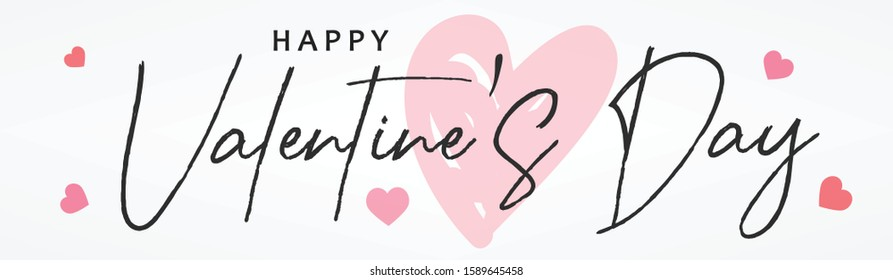 Valentine's day website header or banner design with heart pattern and calligraphy/ typography of Happy Valentines Day text. Vector illustration. - Shutterstock ID 1589645458