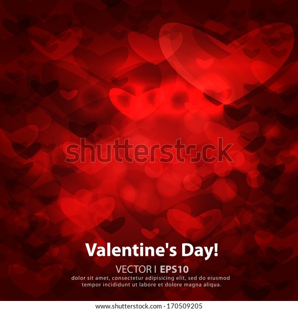 Valentine's day or Wedding abstract red background with hearts. Vector EPS 10 illustration.
