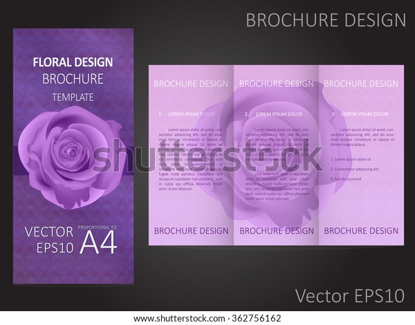 Valentines Day Wedding Brochure Template Rose Stock Vector Royalty Free 362756162