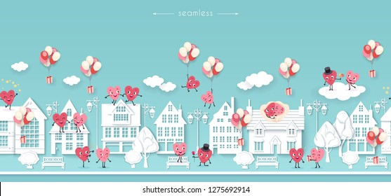 Valentines day, wedding, engagement, love, Seamless background with white houses street and couples of lovers animated hearts, Festive vector illustration, paper cut