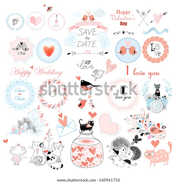 Valentine's Day and the day of the wedding set. Vector illustration.