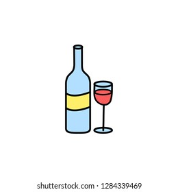 Valentine's Day, wineglass, bottle icon. Element of color Valentine's Day signs for mobile concept and web apps. Detailed wineglass, bottle icon can be used for web and mobile