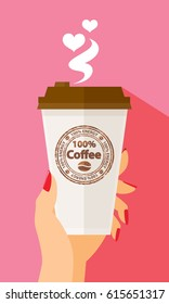 Valentine's Day Woman Hand Holding Paper Coffee Cup Latte Americano Espresso 100%  Coffee Stamp Take Away To Go Flat Design Vector Illustration