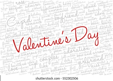 """Valentine's Day word cloud concept including terms such as love, romance, kiss, boyfriend, girlfriend, Cupid and others; with words """"Valentine's Day"""""""