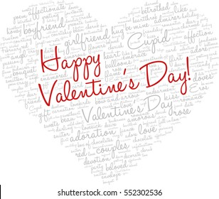 """Valentine's Day word cloud concept including terms such as love, romance, kiss, boyfriend, girlfriend, Cupid and others; shape of heart with words """"Happy Valentine's Day"""""""