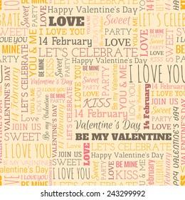 Valentine's Day word seamless pattern on the beige background