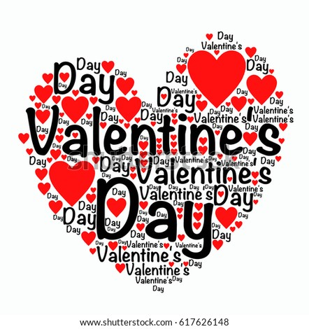 Valentines Day Words Heart Stock Vector Royalty Free 617626148