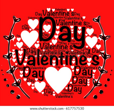 Valentines Day Words Hearts Stock Vector Royalty Free 617757530
