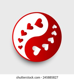 Valentines day Yin Yang.  14 february. Weeding design banner. Vector illustration. Pink Background Hearts.