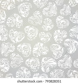 Valentines Floral Seamless Pattern. Hand drawn endless vector illustration with hearts. Can be used for wallpaper, website background, textile, greeting cards, wedding invitation, wrapping, print
