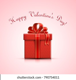 Valentine's gift box with heart shapes. Gift box with bow on pink backgrond. Happy Valentines Day. Vector illustration.