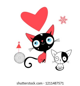 Valentine's greeting card with a kitten in love with a heart on a white background