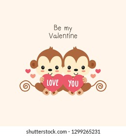 Valentines greeting card. Monkey boy and girl holding hearts.