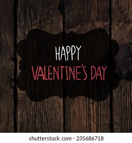 Valentines Greetings on Wooden Texture