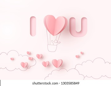 Valentines heart balloon with man flying on pink background. Vector love postcard for Happy Valentine's Day greeting card design.