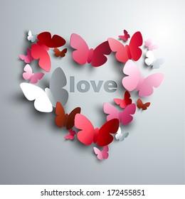 Valentine's Heart of butterflies - concept of love