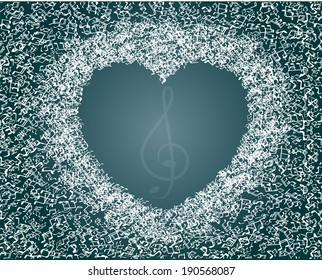 Valentines heart made from music notes - abstract design