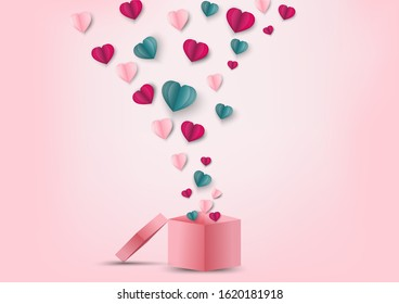 Valentines hearts and gift box.Origami made paper heart flying out off gift box.They are on pink background and copy space.Happy, Mother's Day,card.Vector Valentine's Day and love vector concept.