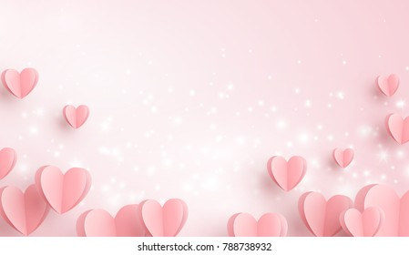 Valentines hearts with glowing lights postcard. Paper flying elements on pink background. Vector symbols of love in shape of heart for Happy Valentine's Day greeting card design.