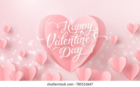 Valentines hearts with lettering postcard. Paper flying elements, glowing lights on pink background. Vector symbols of love in shape of heart for Happy Valentine's Day greeting card design.