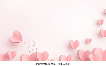 Valentines hearts with man holding balloon. Paper flying elements on pink background postcard. Vector symbols of love in shape of heart for Happy Women, Valentine's Day, birthday greeting card design.