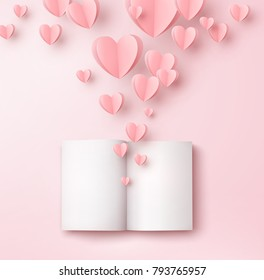 Valentines hearts with open blank book, magazine or catalog. Paper flying elements on pink background. Vector symbols of love in shape of heart for Happy Women's, Valentine's Day greeting card design.