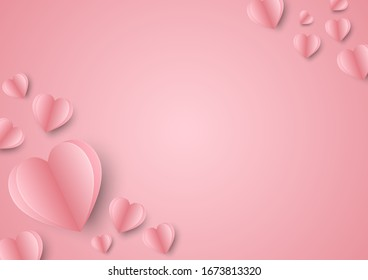 Valentines hearts postcard. Paper flying elements on pink background. Vector symbols of love in shape of heart design.