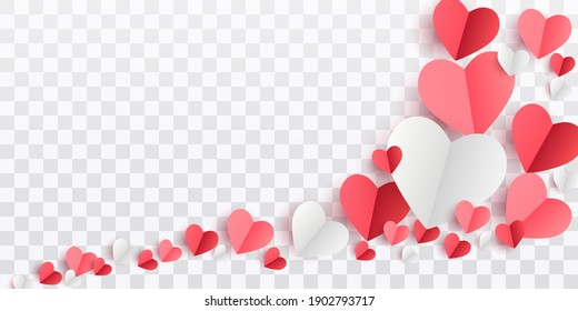 Valentines hearts postcard. Paper flying elements on transparent background. Vector symbols of love in shape of heart for Happy Women's, Mother's, Valentine's Day, birthday greeting card design. PNG .