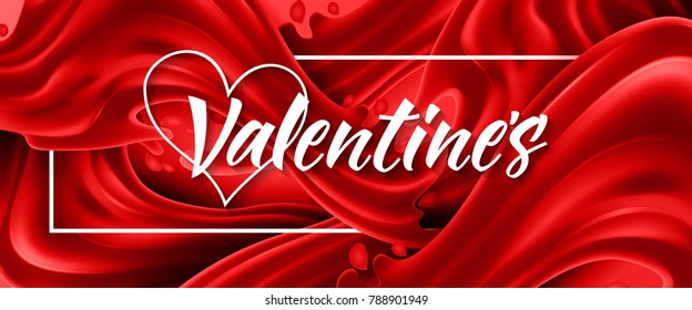 Valentines Lettering on Red Background