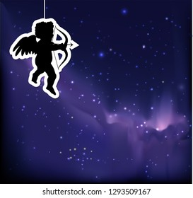 Valentine's night stars sky background with Cupid silhouette EPS10 vector