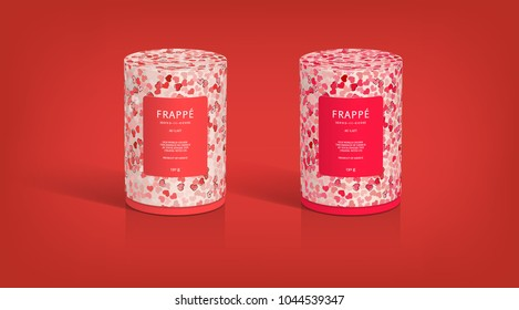 Valentines packaging template 3d illustration design cylinder boxes hearts pattern label coffee packaging tea tin cookie jars isolated