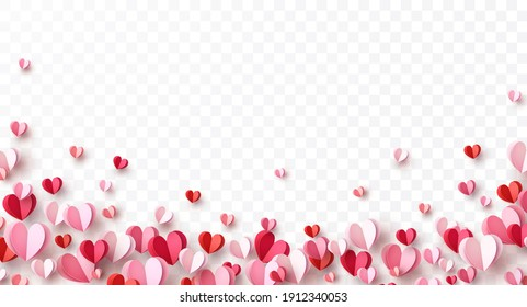 Valentine's paper confetti hearts isolated on transparent background. Vector pink and red symbols of love border for romantic banner or Happy Mother's Day greeting card design