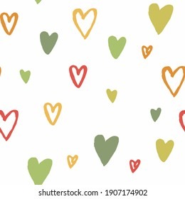 Valentine's pattern, hand drawn colorful hearts upon white background. Vector seamless patterns with big and small hand drawn hearts. Cute romantic pattern for wrapping paper, textile, backgrounds