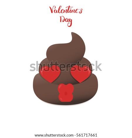 Valentines Poo Emoticon Shit Cartoon Emoji Stock Vector Royalty