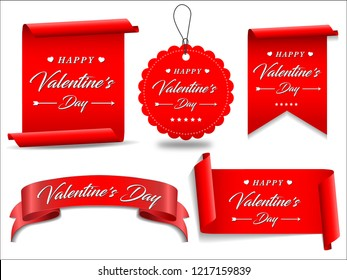 Valentines red banner set. Ribbons and round sticker. Paper scrolls. Vector illustration.