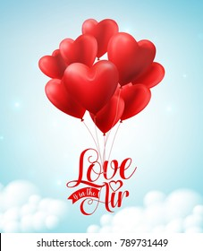 Valentines red heart balloons vector poster design with  floating love is in the air text typography in blue sky background for valentines day. Vector illustration.