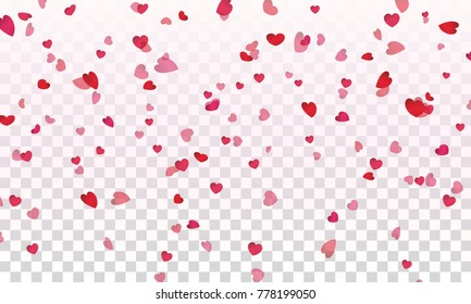 Valentines red hearts confetti falling effect. Flower petals in shape of heart isolated on transparent background. Vector pink symbols of love elements for Women Day, Valentine or greeting card design