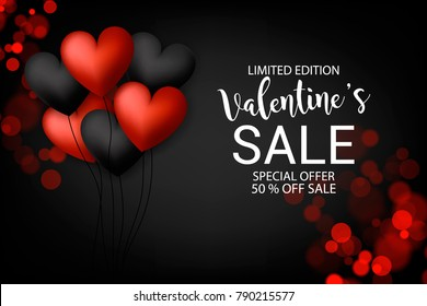 Valentine's Sale banner Red black heart Ballons