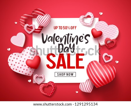 Valentines sale vector banner template. Valentines day store discount promotion with white space for text and hearts elements in red background. Vector illustration.