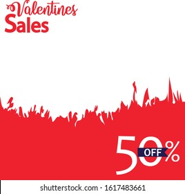 Valentines Sales with flame vector background. template for eroctic products or female underwear