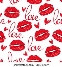 Valentines seamless pattern vector illustration, Lips