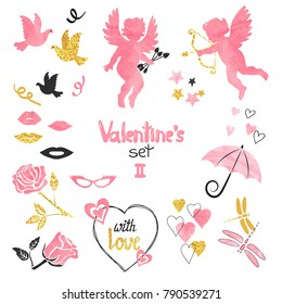 Valentines set. Collection of cupids and romantic elements for greeting card design. Vector illustration