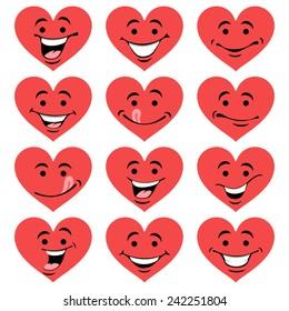 Valentine's set of heart smiles