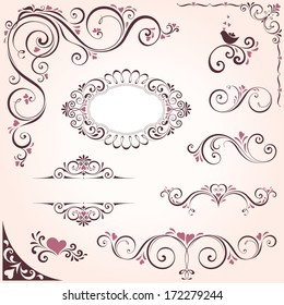 Valentines swirl ornate motifs and frames. Elements can be ungrouped for editing.