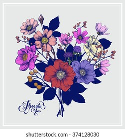 Valentine's Vector Card with Vintage Heart-Shaped Victorian Graphic Floral Bouquet. Greeting Postcard, Wedding Invitation. EPS8