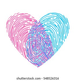 Valentines or wedding day design. Vector fingerprint sketch with heart. Hand drawn outline illustration with human finger print with pink and blue heart shape