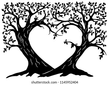 Valentines wish trees silhouette. The wedding tree in the shape of a heart. Variant of design of your family tree. Suitable for laser cutting. Die cut vector illustration.