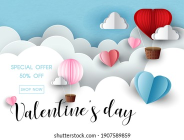 Valentine's wording sale with balloon and hearts on white layers could and blue paper pattern background. Valentine greeting card in sale banner paper cut style and vector design.