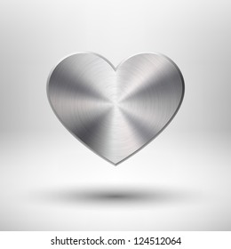 Valentines's day heart with metal (chrome, stainless steel, iron, silver) texture, light background and shadow for web sites, user interfaces (ui) and applications (apps). Vector illustration.